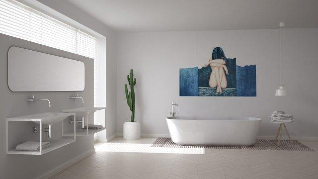 Bathroom mural printing , mural painting